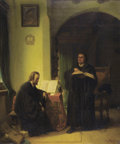 Fine Art - Painting, European:Antique  (Pre 1900), CHARLES (KARL) SCHLESINGER (Swiss, 1825-1893). Two Men Studying. Oil on canvas. 32 x 26-1/4 inches (81.3 x 66.7 cm). Sig...