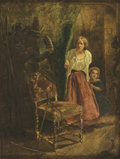 Fine Art - Painting, European:Antique  (Pre 1900), DUTCH SCHOOL (18th Century). Woman and Child Peering Around theCorner. Oil on canvas. 17 x 13 inches (43.2 x 33.0 cm). ...