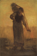 19th Century European:Barbizon, After JEAN-FRANÇOIS MILLET (French, 1814-1875). Water Carrier atSunset. Oil on artist's board. 14 x 10 inches (35.6 x 2...