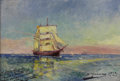 Fine Art - Painting, European:Modern  (1900 1949)  , LUIS GRANER Y ARRUFI (Spanish/American, 1863-1929). Nave Sobreel Mar (Ship at Sea), 1927. Oil on artist's board. 12 x 1...