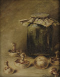 Fine Art - Painting, European:Other , M. BREQUET. Still Life with Mushrooms. Oil on canvas. 10-1/2 x 9 inches (26.7 x 22.9 cm). Signed lower right: M. Brequ...
