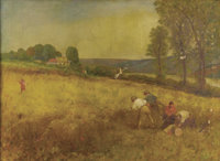 FRENCH SCHOOL (20th Century) Boys Working in a Wheat Field Oil on canvas 22 x 30 inche