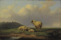 Paintings, Attributed to JOSEPH VAN SEVERDONCK (Belgian, 1819-1905). Sheep Resting at Water's Edge. Oil on panel. 7-1/2 x 11-1/4 in...