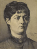 Fine Art - Painting, European:Antique  (Pre 1900), ARTUR LAJOS HALMI (Hungarian, 1866-1939). Portrait of aWoman. Charcoal on paper. 19 x 15-1/2 inches (48.3 x 39.4 cm).S...