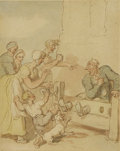 Fine Art - Painting, European:Antique  (Pre 1900), THOMAS ROWLANDSON (British, 1756-1827). In the Stocks, circa1805-1815. Watercolor and brown ink on paper. 5-3/4 x 4-3/4...