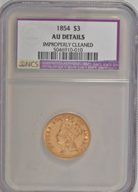 1854 $3 --Improperly Cleaned--AU50 NCS. AU50 Details. NGC Census: (142/2796). PCGS Population (272/1806). Mintage: 138,6...