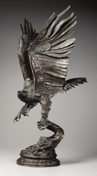 After JULES MOIGNIEZ (French, 1835-1894) Large Eagle Taking Flight Bronze 30 x 12 x 16 inches (76
