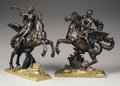 Bronze:European, A PAIR OF FRENCH PARCEL GILT BRONZE FIGURAL GROUPS. 19th Century.16 x 12 x 5-1/2 inches (40.6 x 30.5 x 14.0 cm) each. ... (Total: 2Items)