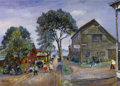 Fine Art - Painting, Russian:Modern (1900-1949), DAVID DAVIDOVICH BURLIUK (Russian/American, 1882-1967). A StrollTowards the Village Wharf. Oil on canvas. 17 x 24-1/2 i...
