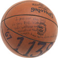 Basketball Collectibles:Balls, 1967-68 Pete Maravich 1,138th Point of Season Game UsedBasketball....