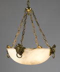 Decorative Arts, Continental:Lamps & Lighting, AN EMPIRE-STYLE GILT METAL MOUNTED ALABASTER CHANDELIER. Late19th-20th Century. 36 x 24 x 24 inches (91.4 x 61.0 x 61.0 cm)...