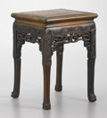 Furniture , A CHINESE HARDWOOD PLANT STAND. Late 19th-Early 20th Century. 18-5/8 x 13-1/2 x 13-1/2 inches (47.3 x 34.3 x 34.3 cm). ...