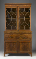 Furniture , AN ENGLISH GEORGE III MAHOGANY SECRETARY BOOKCASE. Late 18th Century. 90 x 49 x 23 inches (228.6 x 124.5 x 58.4 cm). ...