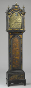 Furniture , AN ENGLISH PAINTED AND GILT WOOD TALL CASE CLOCK. Late 18th Century. Dial signed: John Burges Gosport. 86 x 19-1/2 x 10 ...