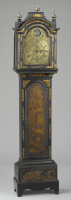 AN ENGLISH PAINTED AND GILT WOOD TALL CASE CLOCK Late 18th Century Dial signed: John Burges Gosport<