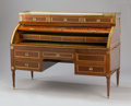 Furniture : French, A FRENCH GILT BRONZE MOUNTED MAHOGANY BUREAU À CYLINDRE. 19th Century. 46-5/8 x 62-1/4 x 27-5/8 inches (118.4 x 158.1 x 70.2...