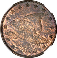 1855 P1C Flying Eagle Cent, Judd-173, Pollock-198, Low R.7, PR63 Brown NGC....(PCGS# 11743)