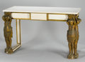 Furniture : Continental, A PAIR OF CONTINENTAL PAINTED AND PARCEL GILT WOOD FIGURALCONSOLES. 18th Century and later. 39 x 70 x 26 inches (99.1 x177... (Total: 2 Items)