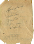"Autographs:Others, Brooklyn Dodgers Team Signed Sheet with Campanella. Exceptional3.5x6"" page has been signed on the blank side by five membe..."