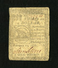 Colonial Notes:Continental Congress Issues, Continental Currency February 17, 1776 $1/3 Very Good....