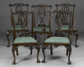 Furniture : Continental, TEN CHIPPENDALE-STYLE MAHOGANY DINING CHAIRS. 20th Century. 41 x23-1/2 x 20 inches (104.1 x 59.7 x 50.8 cm) each. ... (Total: 10Items)