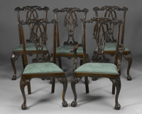 TEN CHIPPENDALE-STYLE MAHOGANY DINING CHAIRS 20th Century 41 x 23-1/2 x 20 inches (104.1 x 59.7 x 50.8 cm) each