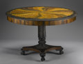 Furniture , AN ANGLO-INDIAN SPECIMEN WOOD TILT-TOP CENTER TABLE. Late 19th Century. 30 x 48 x 48 inches (76.2 x 121.9 x 121.9 cm). ... (Total: 2 Items)