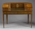 Furniture , AN ENGLISH ADAM-STYLE SATINWOOD CARLTON HOUSE DESK. Late 19th-Early 20th Century. 40-1/2 x 50-1/2 x 25 inches (102.9 x 128.3...