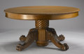 Furniture : American, AN OAK EXTENSION DINING TABLE. Early 20th Century. 30 x 60 x 60 inches (76.2 x 152.4 x 152.4 cm) closed. ... (Total: 8 Items)