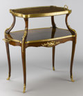 Furniture : French, A FRENCH GILT BRONZE MOUNTED KINGWOOD TWO-TIER DESSERT TABLE. Attributed to François Linke (French, 1855-1946), Circa 1885. ...