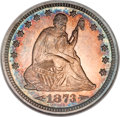 Proof Seated Quarters, 1873 25C Arrows PR65 Cameo NGC....