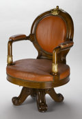 Furniture : Continental, AN EMPIRE-STYLE MAHOGANY ARMCHAIR. Late 19th Century. 40 x 27-1/2 x24 inches (101.6 x 69.9 x 61.0 cm). ...
