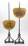 Furniture , A PAIR OF VICTORIAN PAINTED FIRESCREEN POLES. 19th Century. 56 x 18 x 12 inches (142.2 x 45.7 x 30.5 cm) each. ... (Total: 2 Items)
