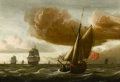 Fine Art - Painting, European:Antique  (Pre 1900), Attributed to LUDOLF BAKHUYZEN (Dutch, 1631-1708). Ships atSea. Oil on beveled panel. 14-1/8 x 20-1/4 inches (35.9 x 51...