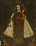 Fine Art - Painting, European:Antique  (Pre 1900), SPANISH COLONIAL SCHOOL. Madonna and Child. Oil onunstretched canvas. 13-1/2 x 10-1/2 inches (34.3 x 26.7 cm) window....