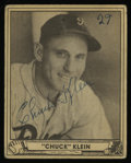 Autographs:Bats, 1940 Play Ball #102 Chuck Klein Signed Card. ...