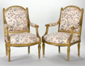 Furniture : French, A PAIR OF FRENCH LOUIS XVI-STYLE GILT WOOD ARMCHAIRS. Late 19thCentury. 40 x 26 x 23 inches (101.6 x 66.0 x 58.4 cm) each. ...(Total: 2 Items)