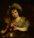 Fine Art - Painting, European:Antique  (Pre 1900), Circle of CAREL DE MOOR (Dutch, 1655-1738). Children withFlowers, Fruit and a Parrot. Oil on canvas. 28-1/2 x 26inches...