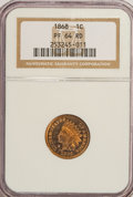 Proof Indian Cents, 1868 1C PR64 Red NGC....