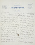 Autographs:Others, 1925 Hughie Jennings Handwritten Signed Letter....
