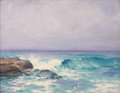 Paintings, JOSEPH HENRY SHARP (American, 1859-1953). La Jolla Breakers. Oil on canvas. 16-1/2 x 16 inches (41.9 x 40.6 cm). Signed ...