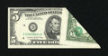 Error Notes:Foldovers, Fr. 1978-D $5 1985 Federal Reserve Note. Choice CrispUncirculated.. ...