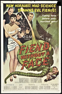 "Fiend Without a Face (MGM, 1958). One Sheet (27"" X 41""). Science Fiction"