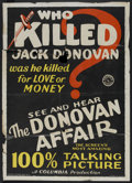 """Movie Posters:Mystery, The Donovan Affair (Columbia, 1929). One Sheet (27"""" X 41"""").Mystery.. ..."""