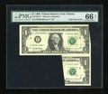 Error Notes:Foldovers, Fr. 1925-F* $1 1999 Federal Reserve Note. PMG Gem Uncirculated 66EPQ.. ...