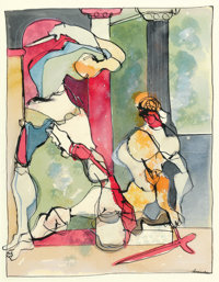 ROMARE HOWARD BEARDEN (American, 1914-1988) Untitled, Two Classical Figures Watercolor and ink on pa