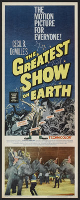 "The Greatest Show On Earth (Paramount, R-1960). Insert (14"" X 36""). Drama"