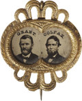 Political:Ferrotypes / Photo Badges (pre-1896), Grant & Colfax:: Beautiful Framed Jugate Ferrotype....