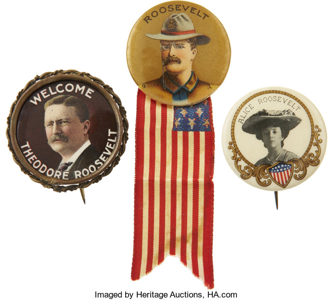 5ea478ef95c Theodore Roosevelt  Grouping of Three Pins.... (Total  3 Items ...