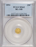 California Fractional Gold: , 1854 25C Liberty Octagonal 25 Cents, BG-108, Low R.4, MS62 PCGS.PCGS Population (40/51). NGC Census: (4/10). (#10377)...